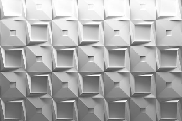 Białe Tło 3d Z Geometrycznymi Kwadratowymi Płytkami Low Poly Premium Zdjęcia