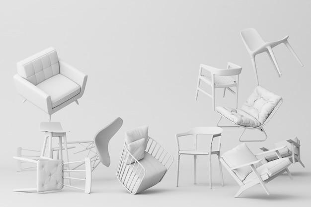 Biali Krzesła W Pustym Białym Tle Pojęcie Minimalizmu & Instalaci Sztuki 3d Rendering Premium Zdjęcia