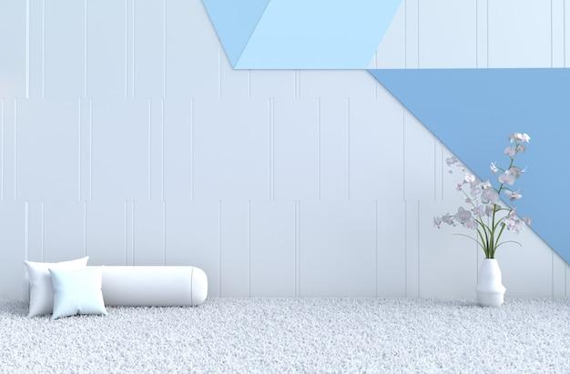 Biało-niebieska Poduszka Na Wystrój Pokoju, Dywan, Orchidea Na Gwiazdkę Premium Zdjęcia