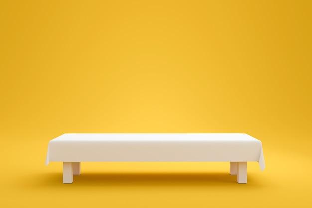 Biały Blat I Tkanina Z Tkaniny Lub Pusty Stojak Na żywym żółtym Tle Lata W Minimalistycznym Stylu. Puste Stoisko Do Pokazywania Produktu. Renderowanie 3d. Premium Zdjęcia
