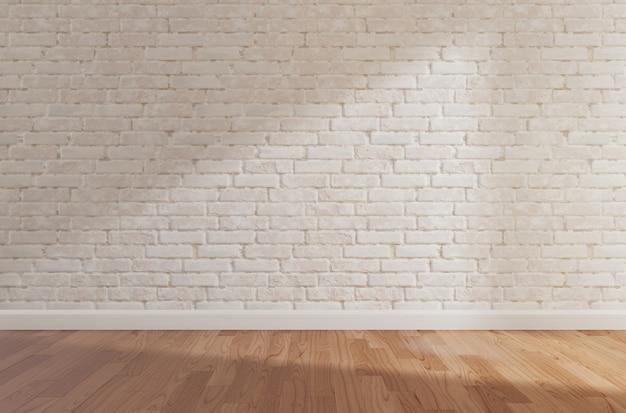 Biały ceglany mur i drewniana podłoga, makieta, kopia przestrzeń Premium Zdjęcia