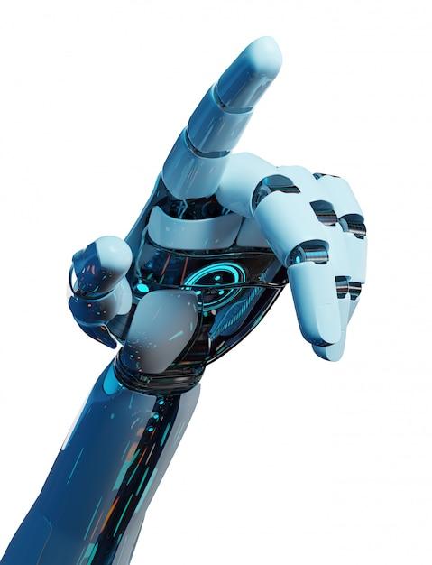 Biały Cyborg Wskazując Palcem Renderowania 3d Premium Zdjęcia