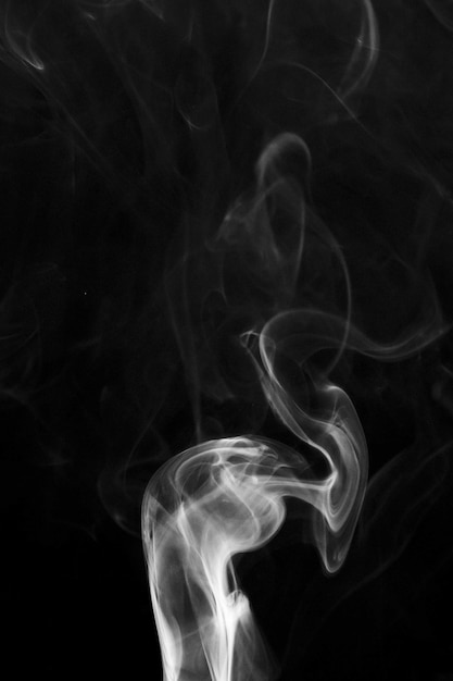 Biały Delikatny Dym Wiruje Na Czarnym Tle Darmowe Zdjęcia