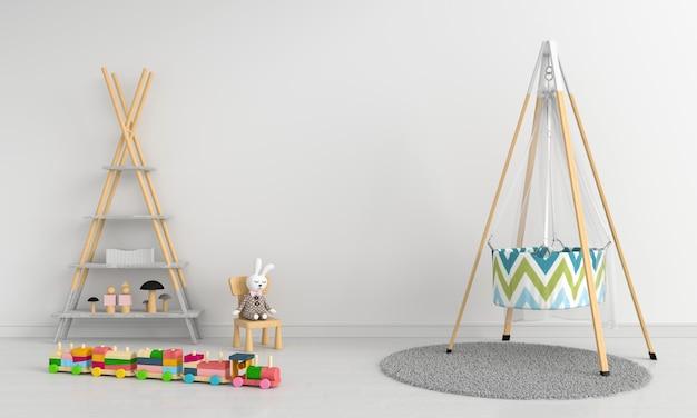 Biały Dziecko Pokój Wnętrze Dla Makieta Premium Zdjęcia