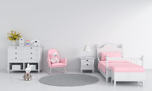 Biały Dziewczyny Dziecka Sypialni Wnętrze Premium Zdjęcia