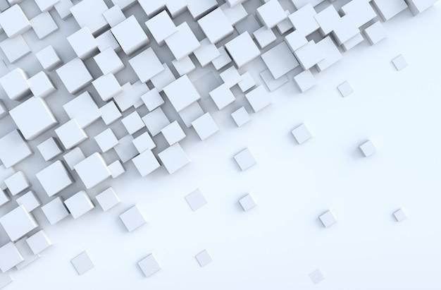 Biały geometryczny sześcian kształtuje tło Premium Zdjęcia