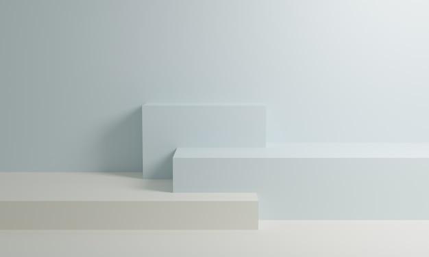 Biały I Niebieski Renderowania 3d Podium Na Tle ściany Premium Zdjęcia