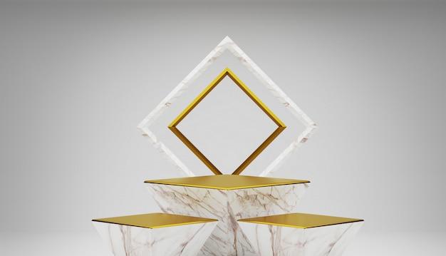 Biały I Złoty Marmur Pusty Podium. Premium Zdjęcia