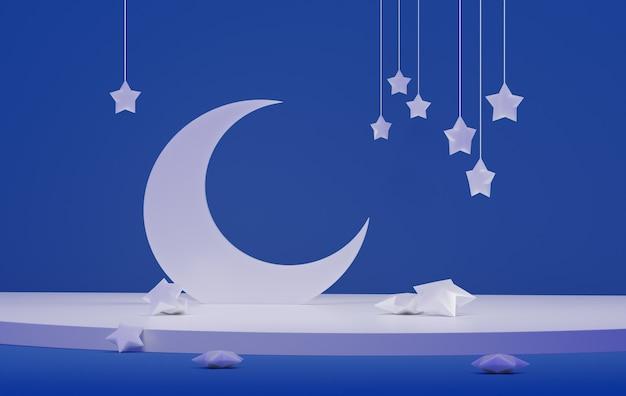 Biały Księżyc Z Gwiazdami Na Niebieskim Tle. Upadłe Gwiazdy. Renderowania 3d Premium Zdjęcia