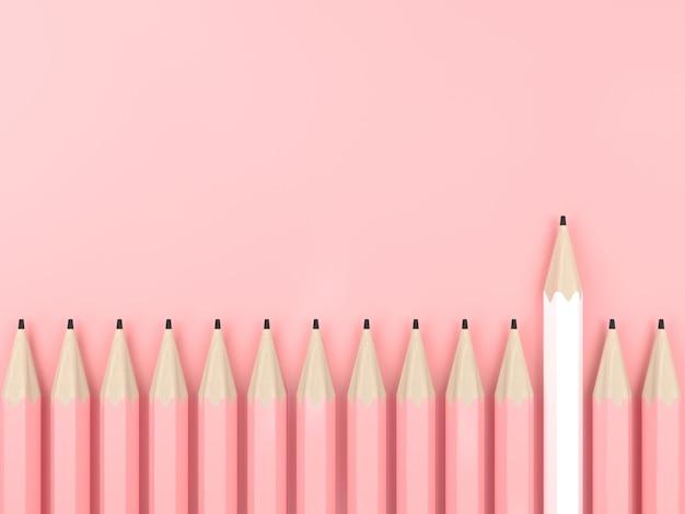 Biały Ołówek I Cały Różowy Ołówek Na Różowej Pastelowej Koncepcji Kontrastu Tła Premium Zdjęcia