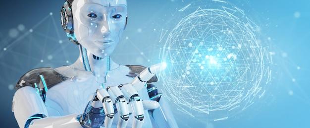 Biały Robot Kobieta Za Pomocą Cyfrowego Trójkąta Eksploduje Kuli Hologram Renderowania 3d Premium Zdjęcia