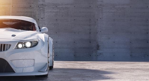 Biały Samochód Sportowy Z Copyspace Premium Zdjęcia