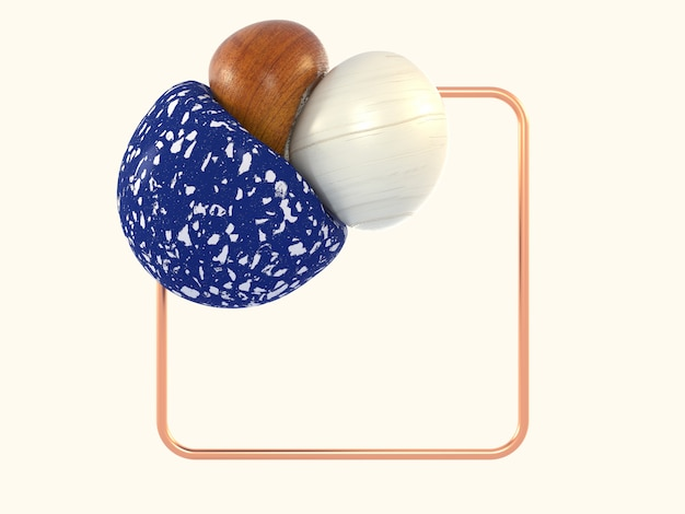 Biały scena abstrakcyjny kształt niebieski marmur drewno kwadrat miedź rama 3d rendering Premium Zdjęcia