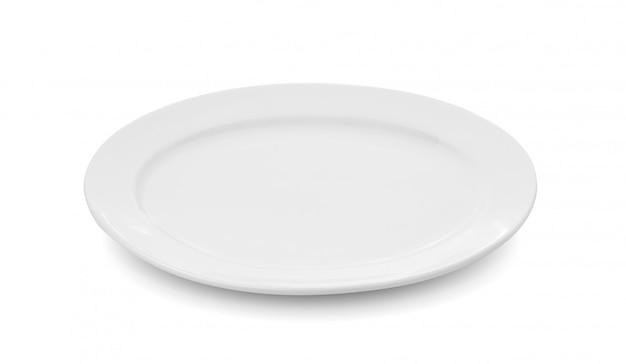 Biały Talerz Na Białej Przestrzeni Premium Zdjęcia