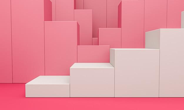 Biały Wyświetlacz Produktu Lub Cokół Prezentacyjny Na Różowym Tle Wykresu Premium Zdjęcia