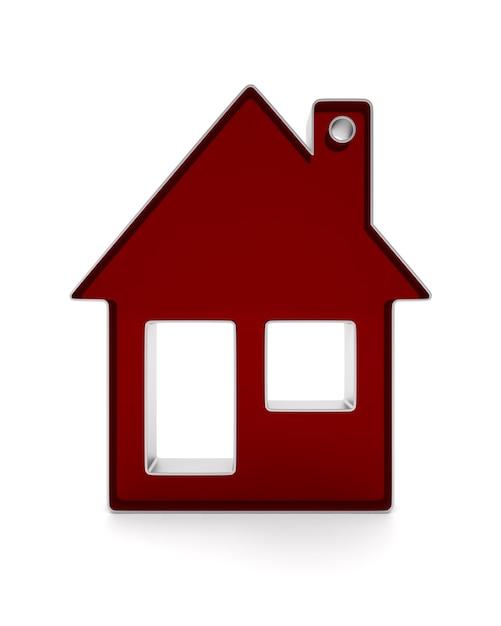 Bibelot Dom Na Białej Przestrzeni. Izolowana Ilustracja 3d Premium Zdjęcia