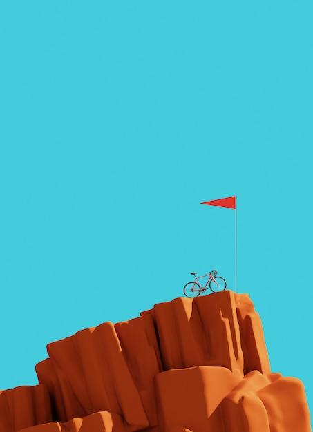 Bicykl Na Górze Góry Z Flaga, Zwycięzcy Pojęcie Premium Zdjęcia