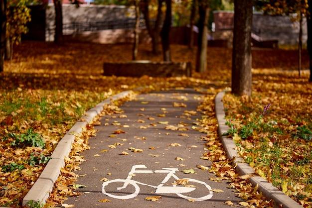 Bicyklu znak na drodze w jesień parku Premium Zdjęcia