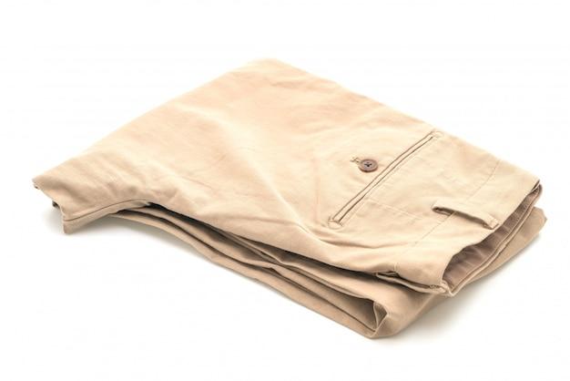 Biege Spodnie Na Białym Tle Premium Zdjęcia