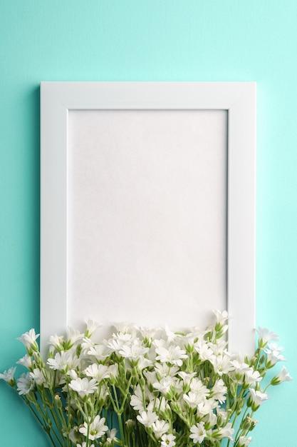 Biel Pusta Ramka Na Zdjęcia Z Ucha Gwiazdnica Kwiaty Na Niebieskim Tle, Widok Z Góry Kopii Miejsca Premium Zdjęcia