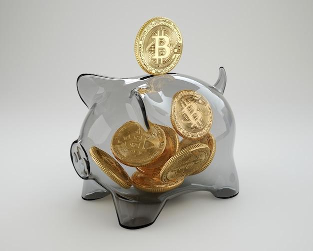 Bitcoin Wpada Do Szklanej Skarbonki Premium Zdjęcia