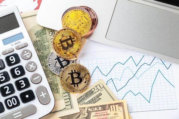 Bitcoin, wykres i dolar amerykański. handel finansami Premium Zdjęcia