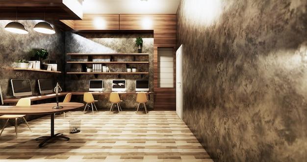 Biurowe Studio W Stylu Loftu, Betonowa ściana Szara Błyszcząca Na Drewnianych Płytkach Premium Zdjęcia