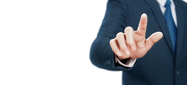Biznesmen dotykając ekranu wirtualnego Premium Zdjęcia