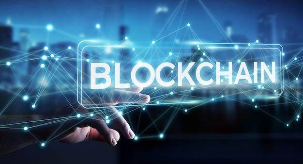 Biznesmen Przy Użyciu Renderowania 3d Kryptowaluty Interfejsu Blockchain Premium Zdjęcia