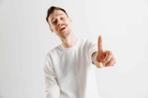 Biznesmen Ręką Dotykając Pusty Ekran Wirtualny Darmowe Zdjęcia