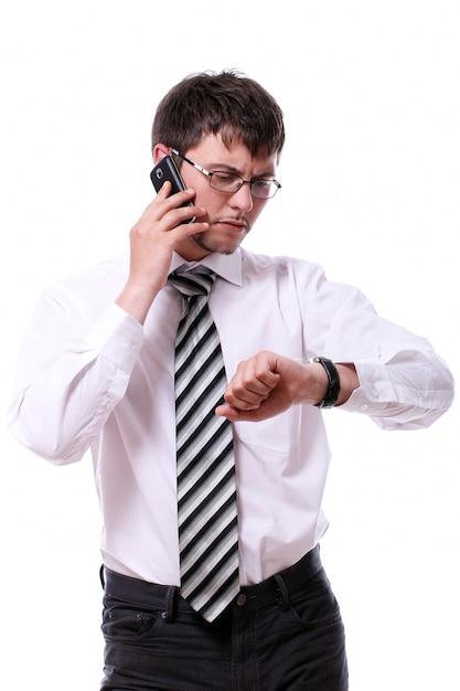 Biznesmen Sprawdza Jego Drutów Zegarki Darmowe Zdjęcia