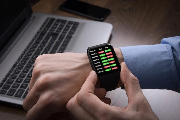 Biznesmen Sprawdzający Handel Forex, Cenę Giełdową Z Inteligentnego Zegarka. Technologia Inteligencji Fintech Umożliwia Użytkownikowi Elastyczne I Cyfrowe Rozwiązanie Dotyczące Inwestycji Finansowych W Obrocie Giełdowym. Premium Zdjęcia