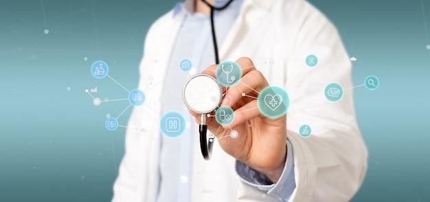 Biznesmen Trzyma Ikonę Medyczne I Połączenie Renderowania 3d Premium Zdjęcia