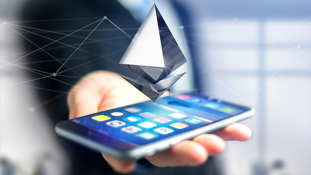 Biznesmen Używa Smartphone Z Ethereum Cryptocurrency Szyldowym Lataniem Wokoło Połączenia Sieciowego Premium Zdjęcia