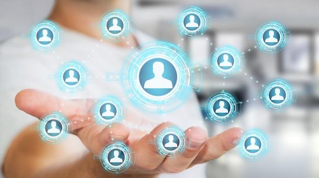 Biznesmen za pomocą niebieskiego renderowania 3d sieci społecznej Premium Zdjęcia