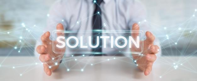 Biznesmen Za Pomocą Rozwiązania Renderowania 3d Tekst Cyfrowy Premium Zdjęcia