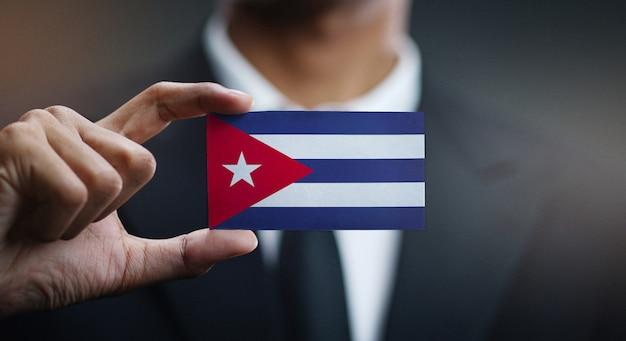 Biznesmena Mienia Karta Kuba Flaga Premium Zdjęcia