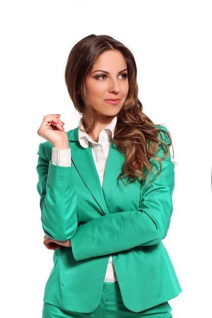 Biznesowa kobieta w zielonym kostiumu Darmowe Zdjęcia