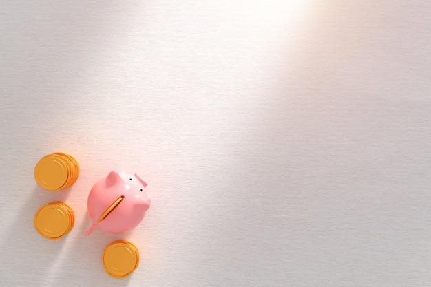 Biznesowa metafora sukcesu - różowa prosiątko banka witn złocista moneta odizolowywająca Premium Zdjęcia