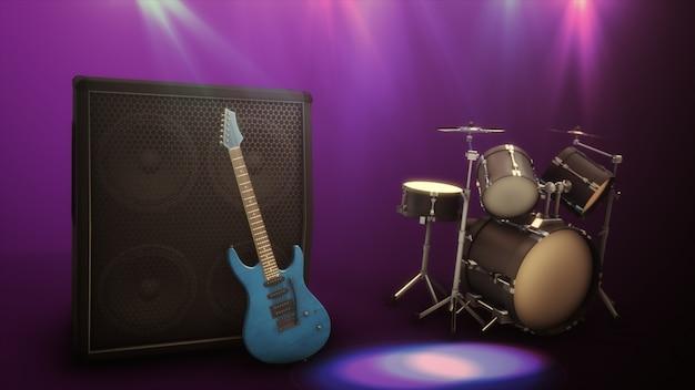 Błękitna Gitara Elektryczna Z Wielkim Combo I Bęben Ustawia 3d Ilustrację Premium Zdjęcia