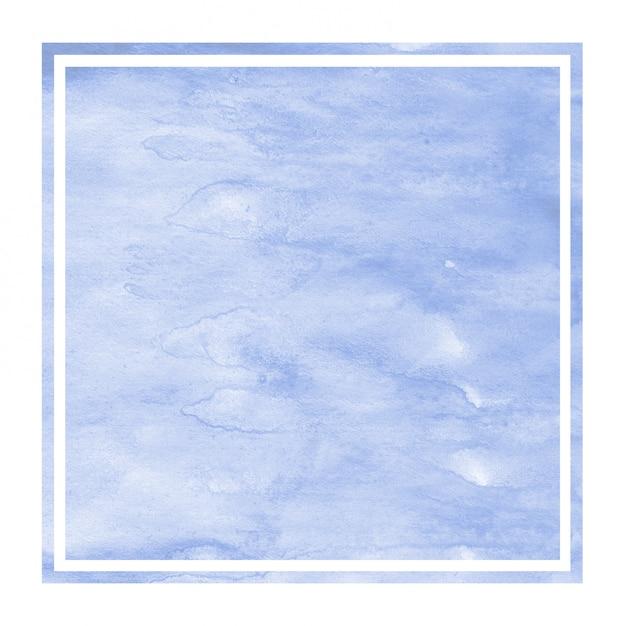 Błękitna ręka rysująca akwareli prostokątna ramowa tło tekstura z plamami Premium Zdjęcia