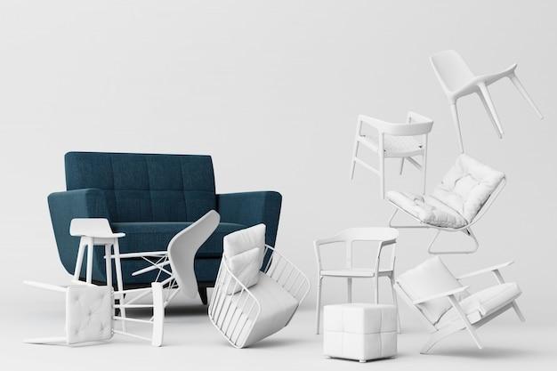 Błękitny fotel otaczający białymi krzesłami w pustym białym tle pojęcie minimalizmu & instalaci sztuki 3d rendering Premium Zdjęcia