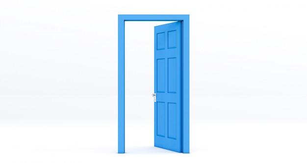 Błękitny Otwarte Drzwi Odizolowywający Na Bielu Premium Zdjęcia