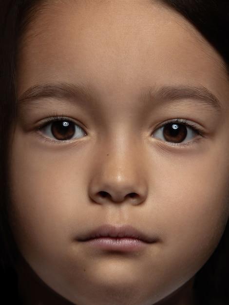 Bliska Portret Dziewczynki Azjatyckie Małe I Emocjonalne. Bardzo Szczegółowa Sesja Zdjęciowa Modelki O Zadbanej Skórze I Jasnym Wyrazie Twarzy. Pojęcie Ludzkich Emocji. Darmowe Zdjęcia
