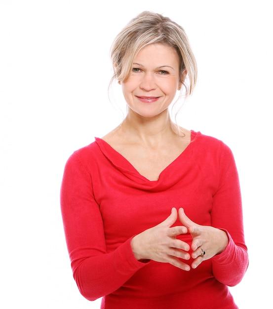 Blond Kobieta W Czerwonej Bluzce Darmowe Zdjęcia