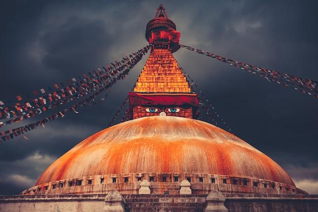 Bodhnath Stupa W Kathmandu Dolinie, Nepal Premium Zdjęcia