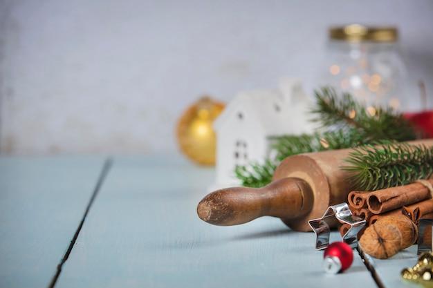 Boże narodzenie do pieczenia tło. składniki na świąteczne gotowanie Premium Zdjęcia