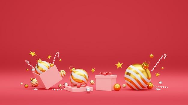 Boże Narodzenie I Szczęśliwego Nowego Roku Tło Z świąteczną Dekoracją I Miejscem Na Kopię. Premium Zdjęcia