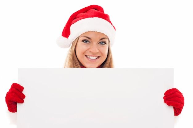 Boże Narodzenie Kobieta Trzyma Pustą Deskę Darmowe Zdjęcia