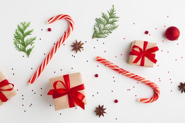 Boże narodzenie świąteczne dekoracje z góry widok Darmowe Zdjęcia